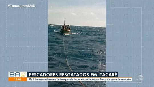 Vídeo mostra resgate de pescadores que tinham desaparecido no sul da Bahia: 'Água só dava pra hoje'