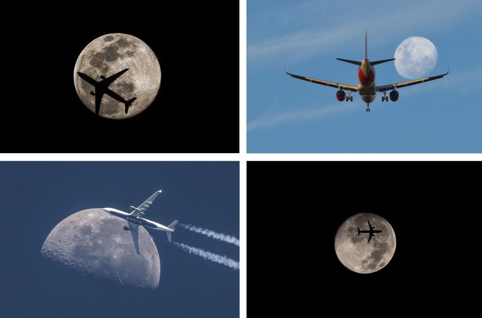 Aviões sobrevoam céu de Brasília; ao fundo, a lua — Foto: Leo Caldas/Arquivo pessoal