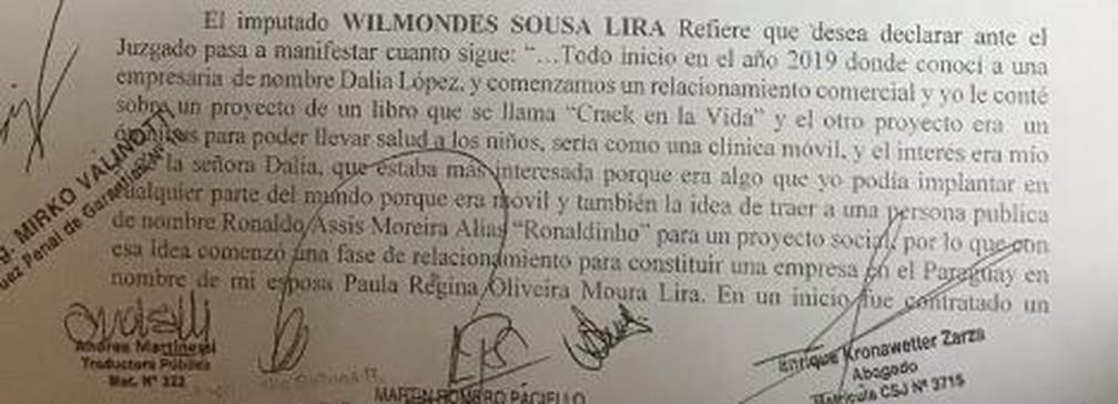 Trecho de depoimento de Wilmondes Sousa Lira — Foto: Reprodução