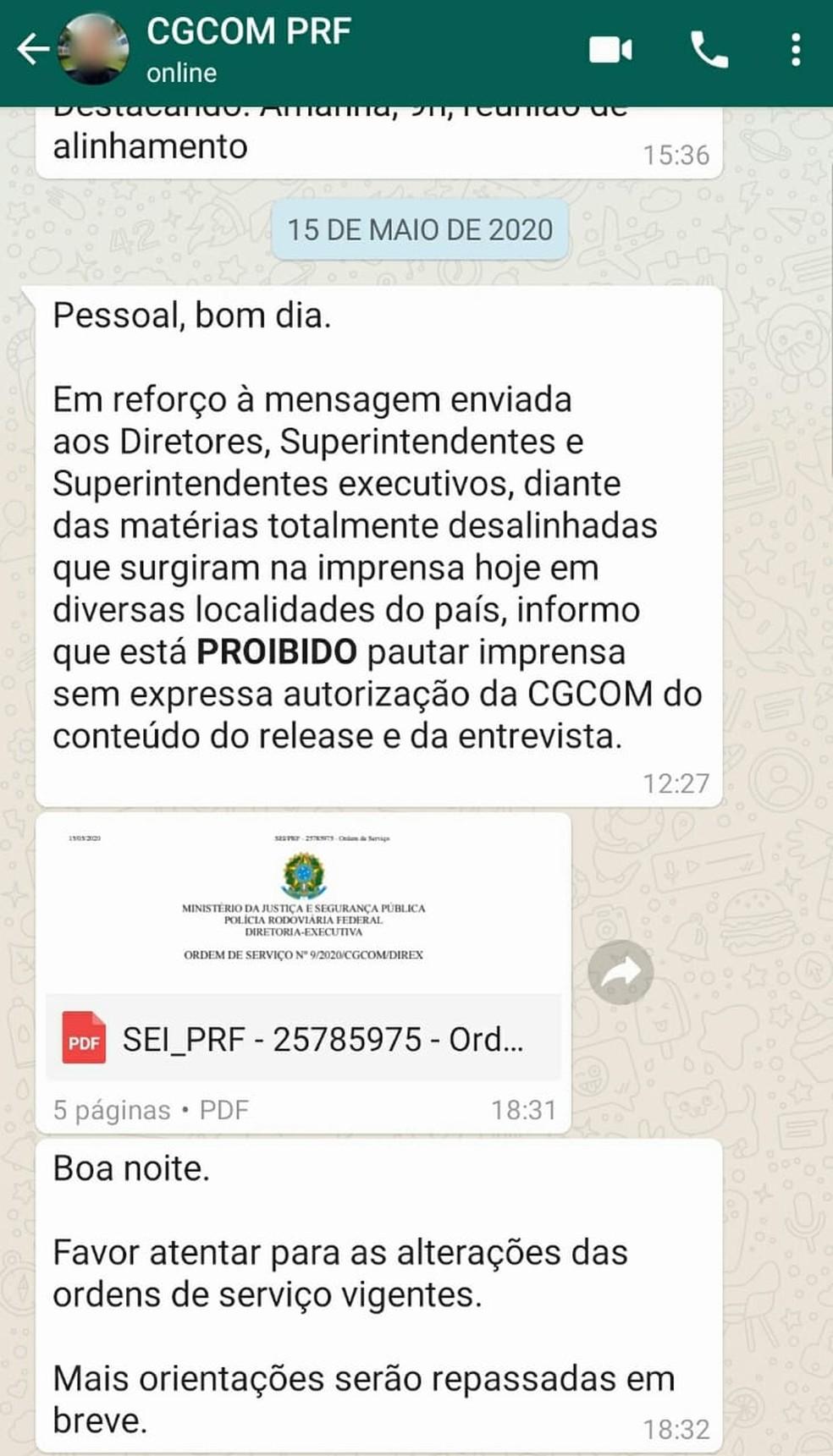 Determinação para que os pedidos feitos por veículos da imprensa sejam repassados para Brasília feita após a reportagem — Foto: Arquivo pessoal