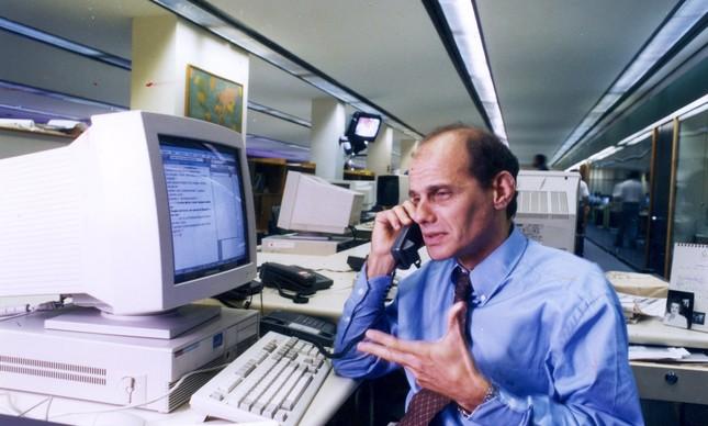 Boechat na redação do GLOBO, em 1995