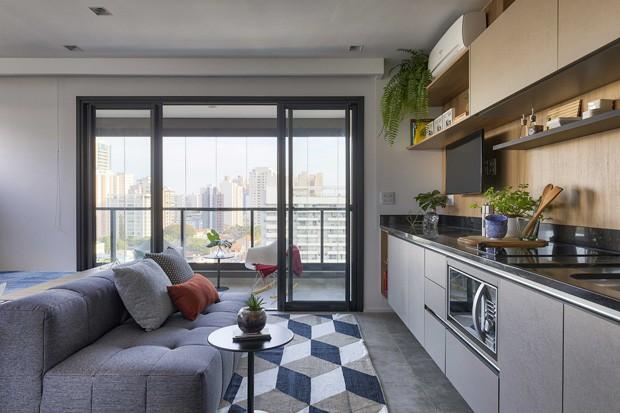 Apartamento de 38 m² ganha amplitude com integração total dos ambientes