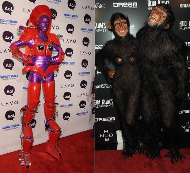 Em 2010, Heidi Klum se transformou em um robô para festa. Em 2011, Heidi Klum e o então marido da época, o cantor Seal, usaram fantasias perfeitas de macacos  (Foto: Getty Images)