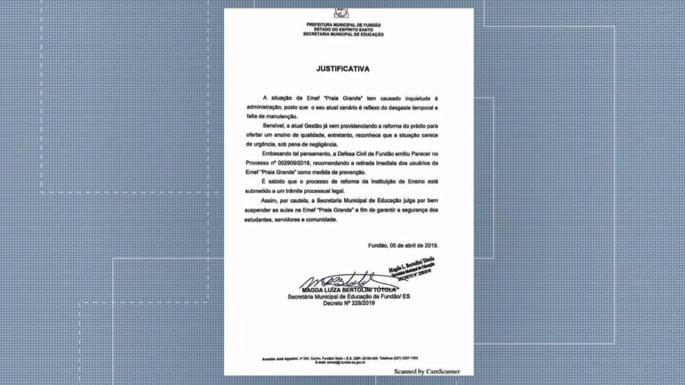 Escola emitiu nota de justificativa para a falta de aula, no ES  — Foto: Reprodução/ TV Gazeta