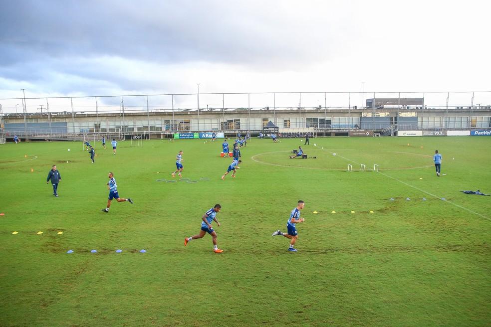 Treino físico do Grêmio nesta terça — Foto: Lucas Uebel/Grêmio