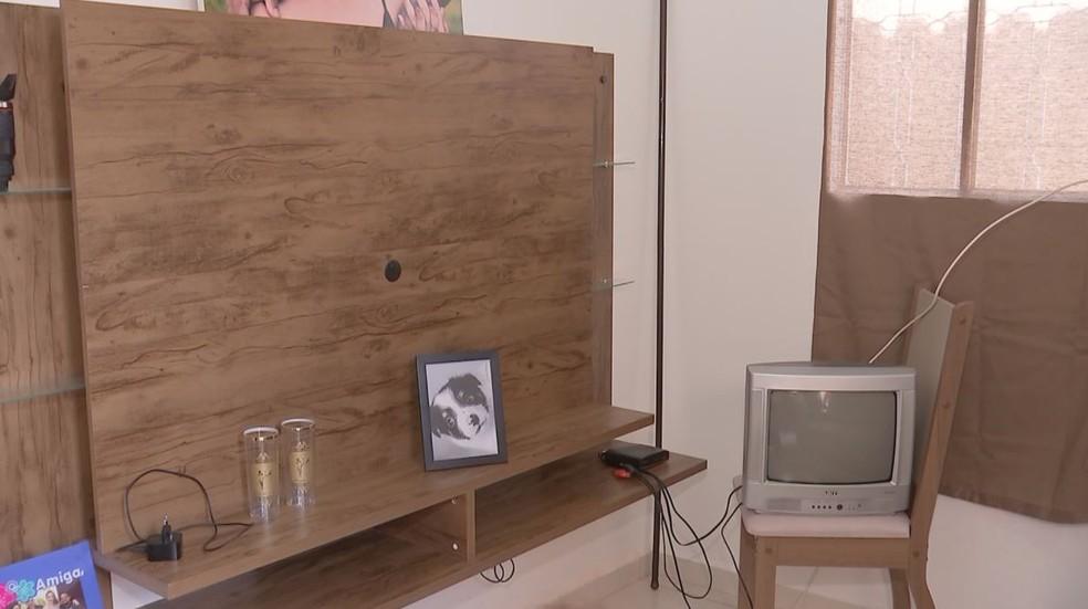 Na sala do casal, local onde estava a TV de 49 polegados tem agora apenas o quadro do cãozinho, que também foi levado por ladrões — Foto: TV TEM/Reprodução