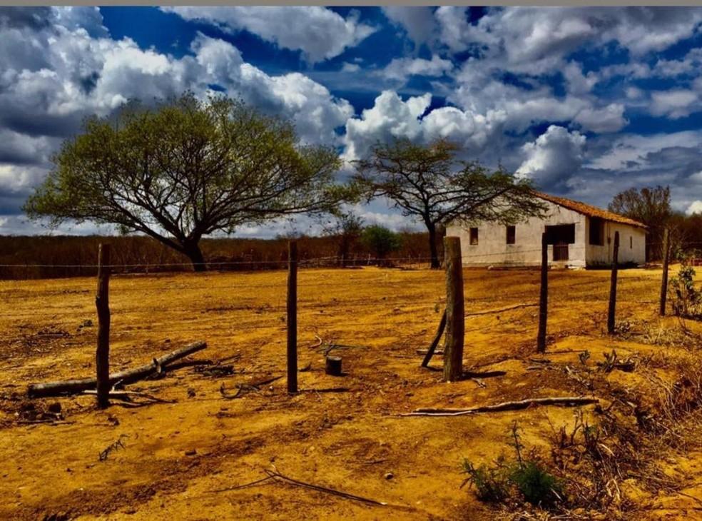 Sítio Malhada, no distrito de Itaguá, no interior do Ceará, registrada pelo cearense João Leandro da Silva Morais. — Foto: João Leandro da Silva Morais/ Arquivo pessoal