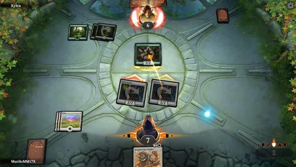 Você e seus oponentes podem bloquear o dano usando criaturas no Magic Arena — Foto: Reprodução/Murilo Molina