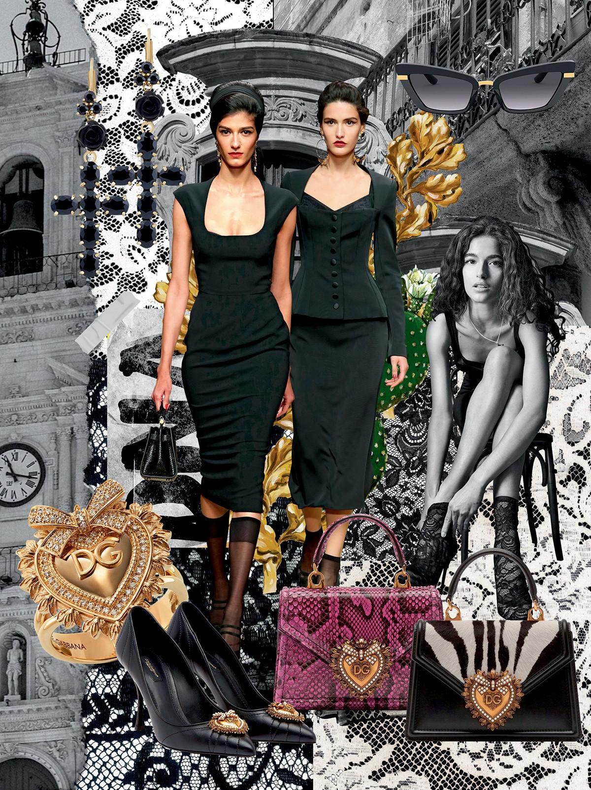 Dolce & Gabbana - À siciliana: o preto, inspirado nos trajes das mulheres em luto, tradição no sul da Itália, aparece em conjunto com o ornamentalismo religioso  (Foto: Cortesia Dolce & Gabbana)