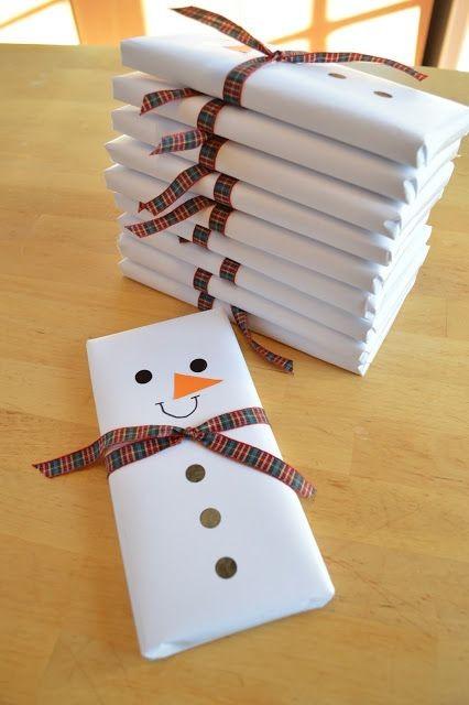 Pacote de presente boneco de neve (Foto: Pinterest)