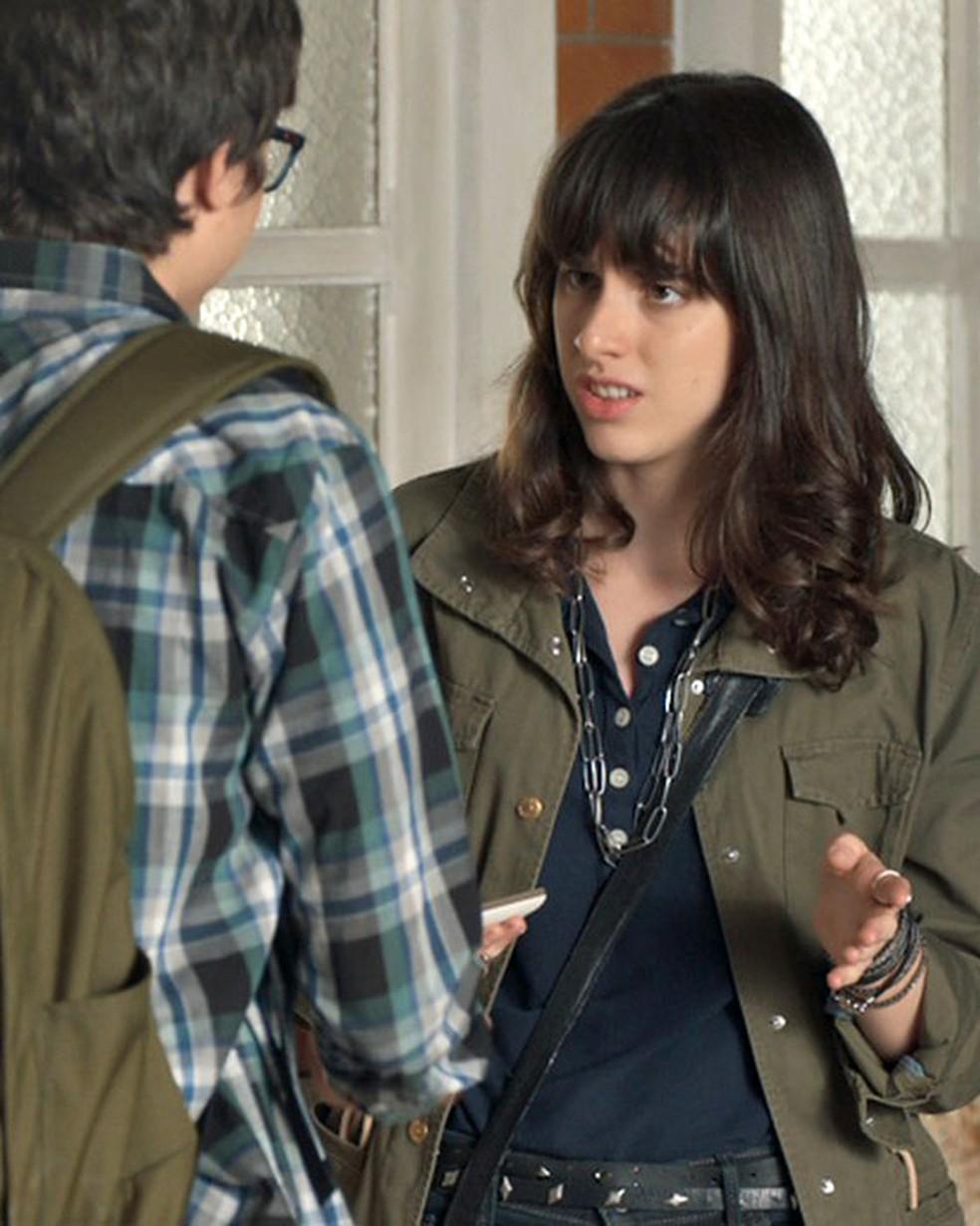 Lica (Manoela Aliperti) dá fora em Juca (Mikael Marmorato) em 'Malhação - Viva a Diferença' — Foto: Globo