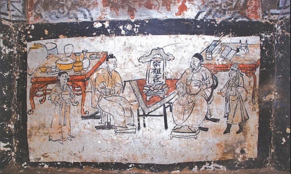Painel encontrado em tumba (Foto: Divulgação/ Chinese Cultural Relics)