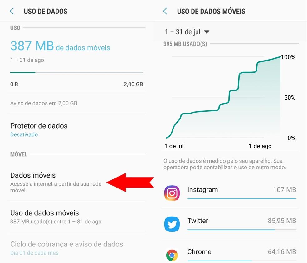 Picos no consumo de dados móveis podem ser indícios de que celular está sendo rastreado — Foto: Reprodução/Ana Letícia Loubak