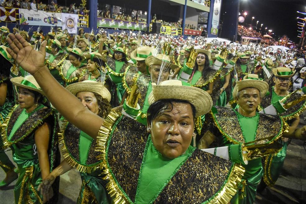 Grêmio Recreativo Escola de Samba Piratas da Batucada Carnaval de Belém 2020 — Foto: Fernando Sette/Comus