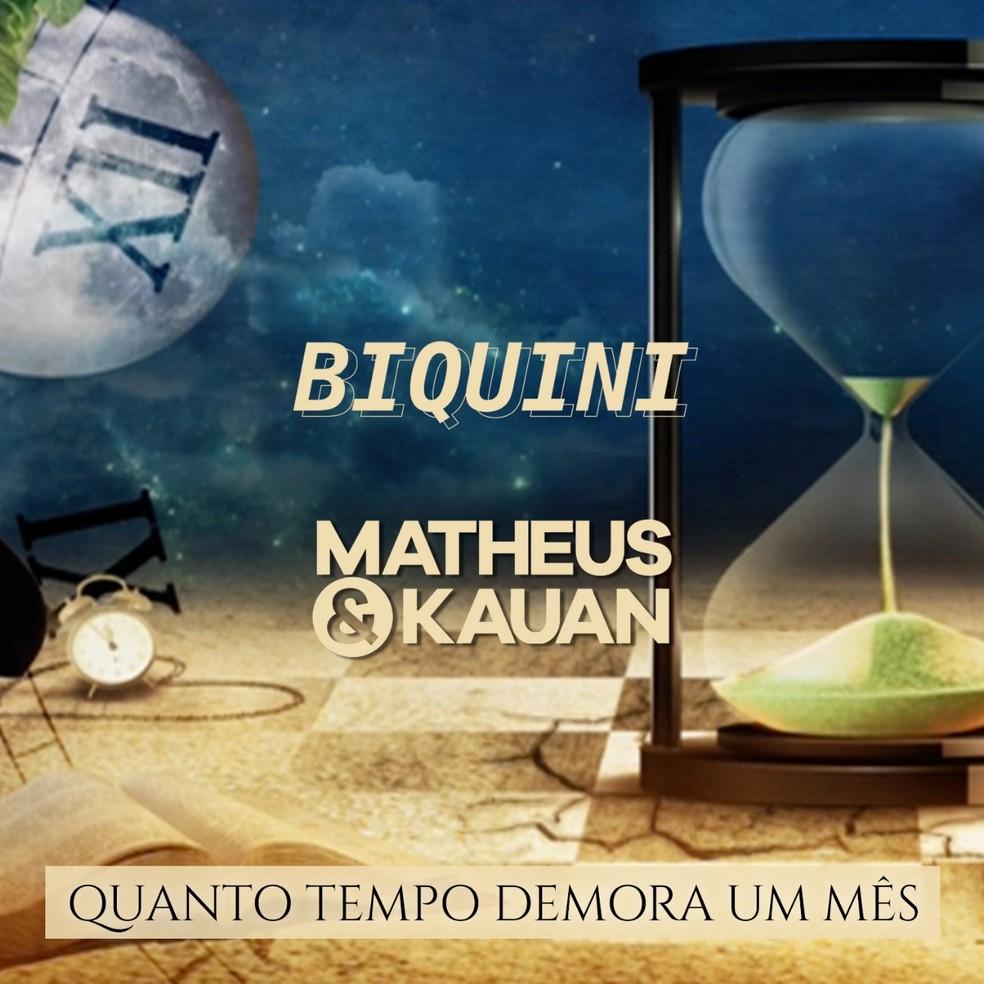 Capa do single 'Quanto tempo demora um mês', do Biquini Cavadão com Matheus & Kauan — Foto: Divulgação