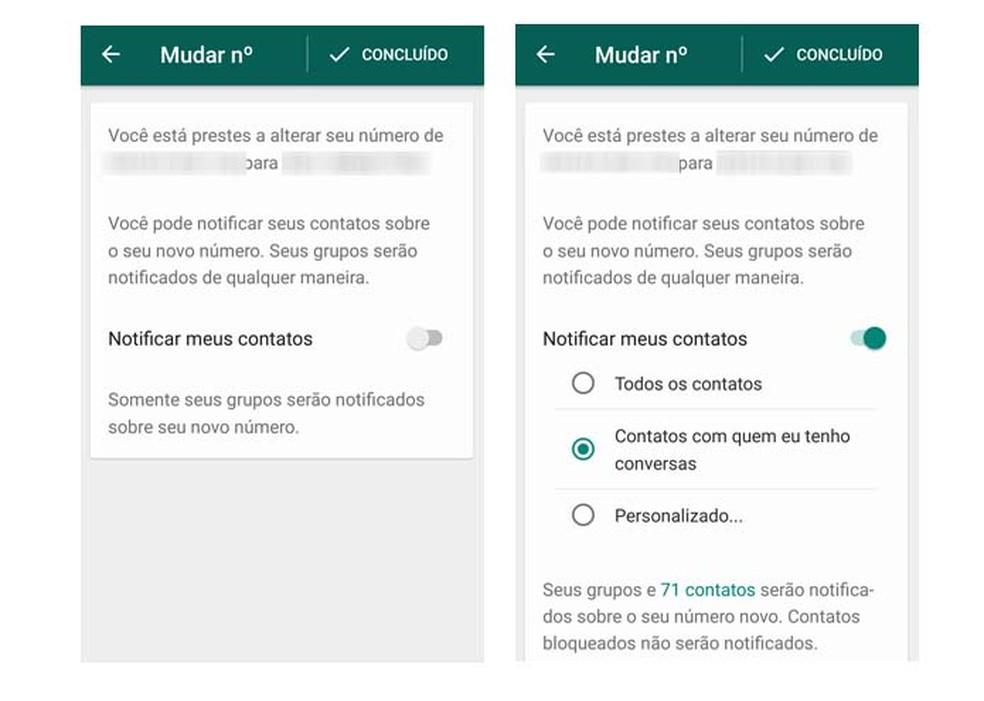 O usuário pode personalizar para quem enviar a notificação no WhatsApp (Foto: Reprodução/ Taysa Coelho)