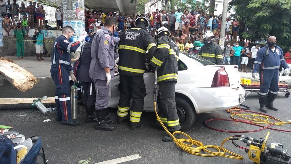 Árvore cai em cima de veículo e deixa feridos em Salvador — Foto: Divulgação/Corpo de Bombeiros da Bahia