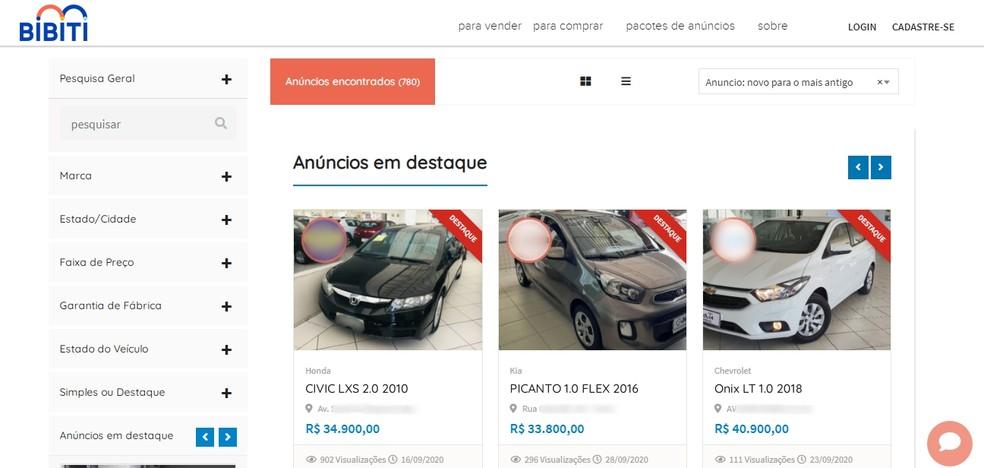 Plataforma criada na PB faz a ponte entre vendedores e compradores de veículos no estado — Foto: Reprodução/Bibiti