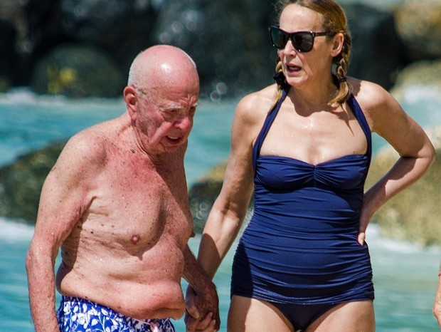 Rupert Murdoch e Jerry Hall (Foto: Backgrid)
