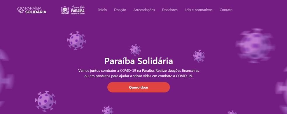 Portal é criado para viabilizar doações e arrecadações para o enfrentado da Covid-19 na Paraíba — Foto: Paraíba Solidária/Reprodução