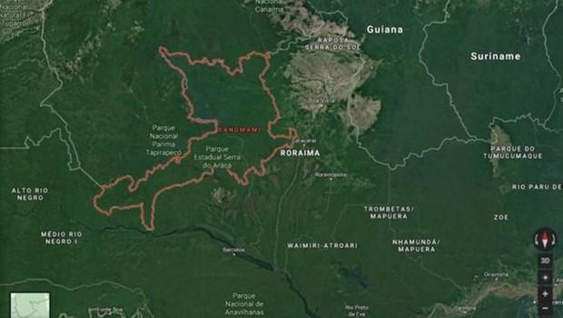 Terra Indígena Yanomami fica na fronteira do Brasil com Venezuela, nos Estados de Roraima e Amazonas (Foto: Google)