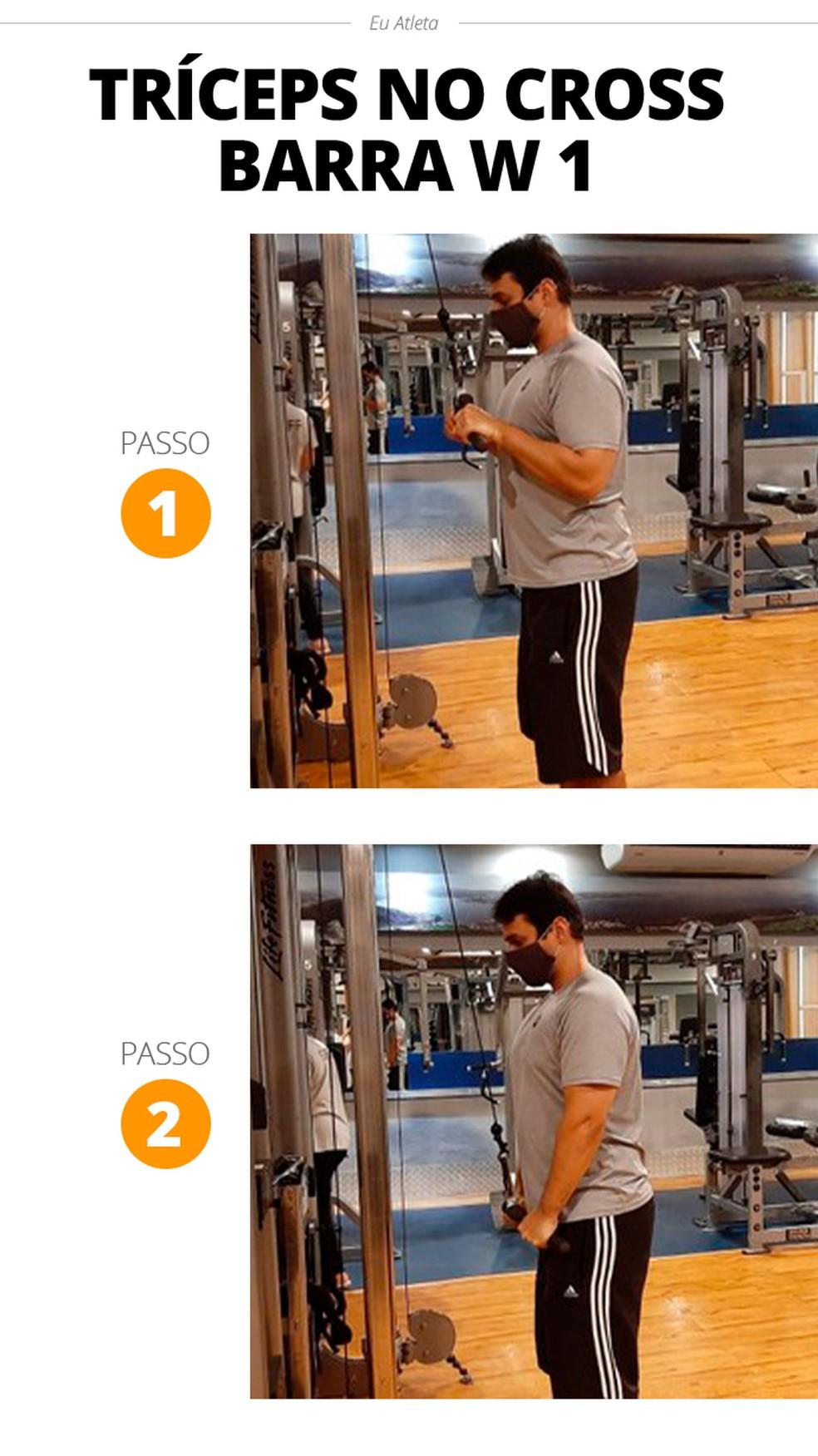 Tríceps no cross barra W — Foto: Divulgação Alexandre Barcellos /Academia Wonder Fit