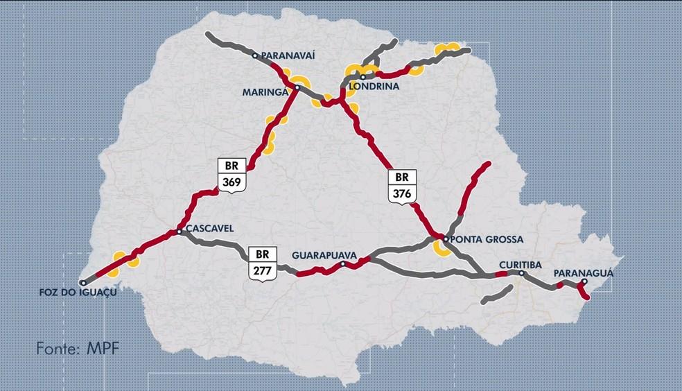 Mapa mostra trechos que seriam duplicados e os contornos que deveriam ser feitos pelo contrato original com concessionárias — Foto: Reprodução/RPC