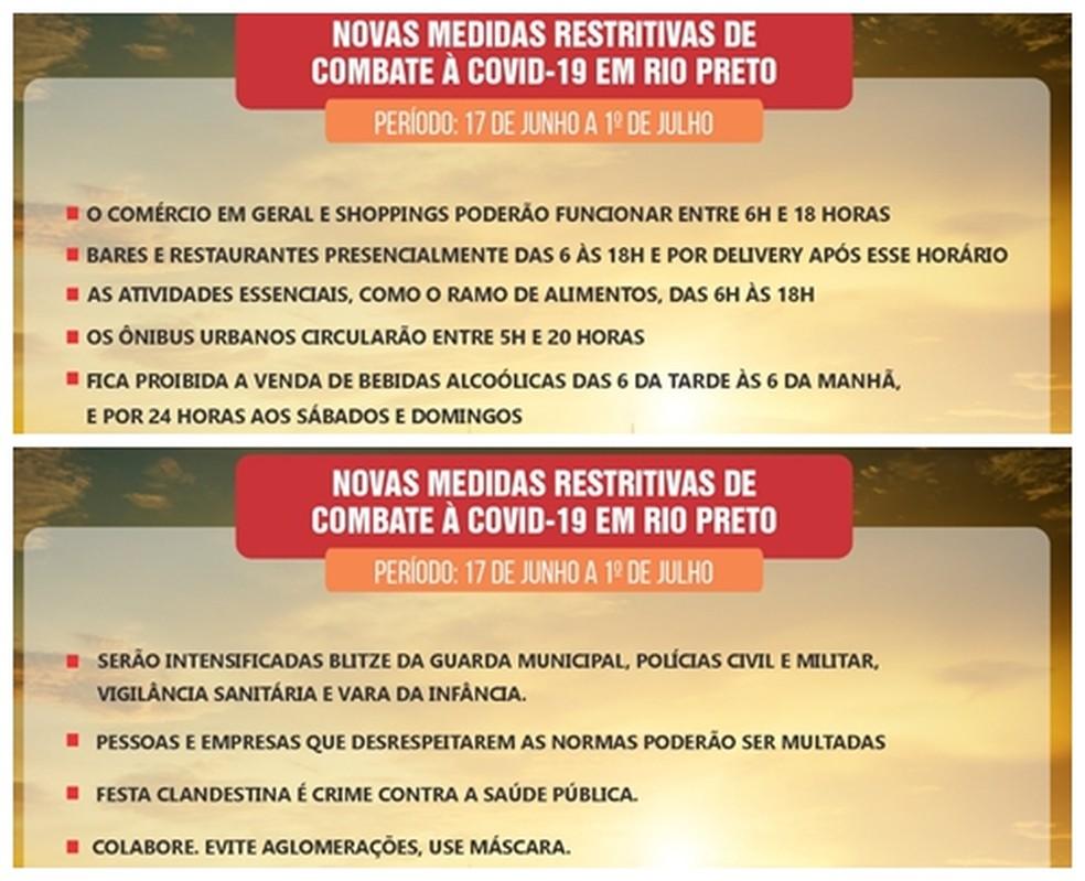 Novas medidas restritivas entram em vigor nesta quinta-feira em Rio Preto  — Foto: Divulgação/Prefeitura de Rio Preto