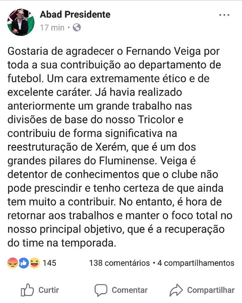 Postagem de Pedro Abad sobre a saída de Fernando Veiga (Foto: Reprodução)