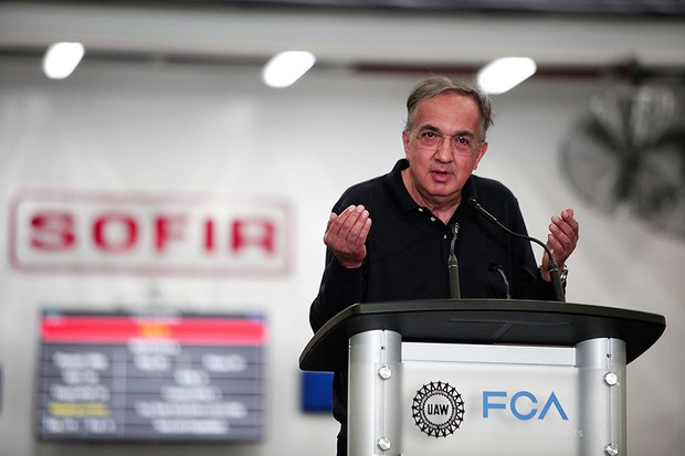 Sergio Marchionne, CEO da FCA, em evento na fábrica de Sterling Heights, Michigan (Foto: Bill Pugliano/Getty Images)