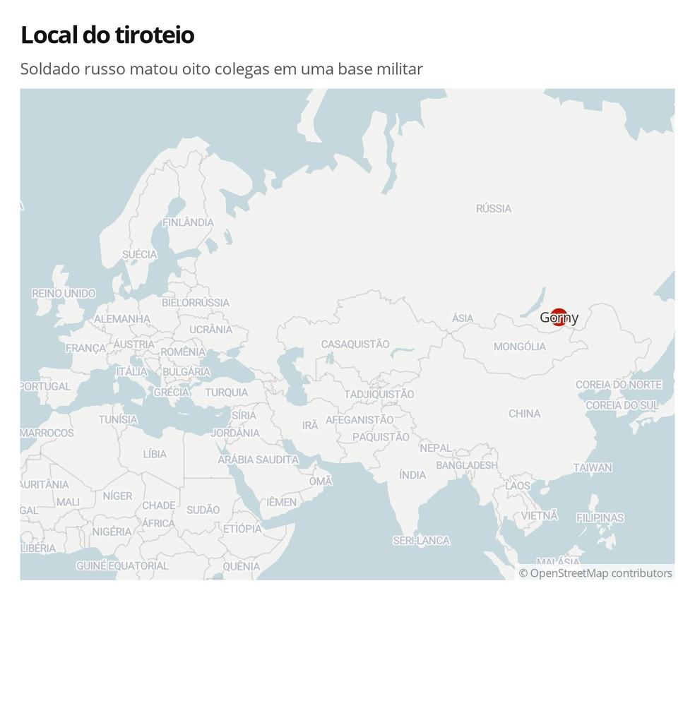 Mapa mostra a localização de Gorny, — Foto: G1