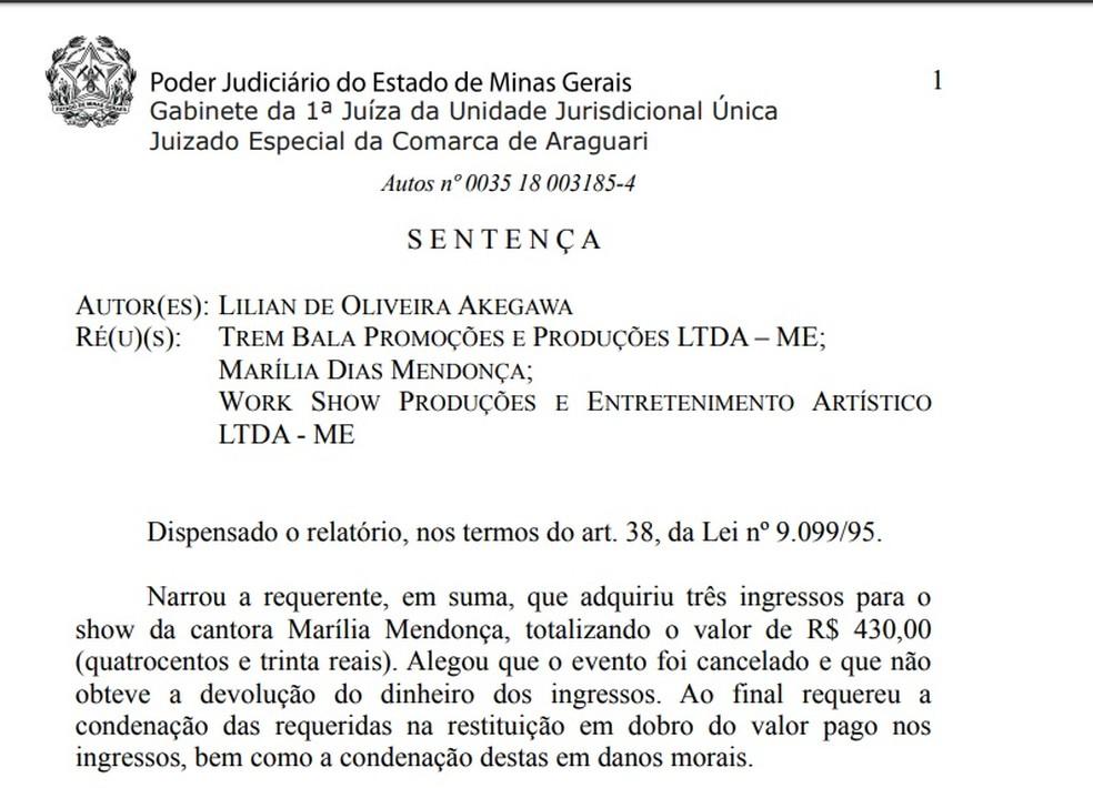 Três réus foram condenados a pagar indenização por danos morais para consumidora — Foto: Reprodução