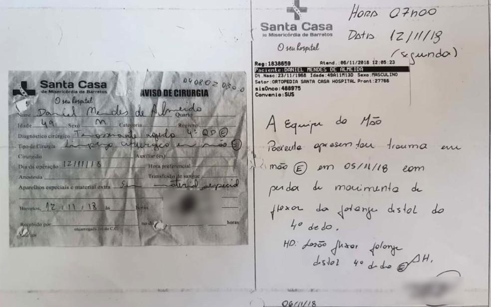 Documentos do atendimento mostram que paciente em Barretos, SP, tinha lesão no dedo anelar da mão esqueda — Foto: Arquivo pessoal/Divulgação
