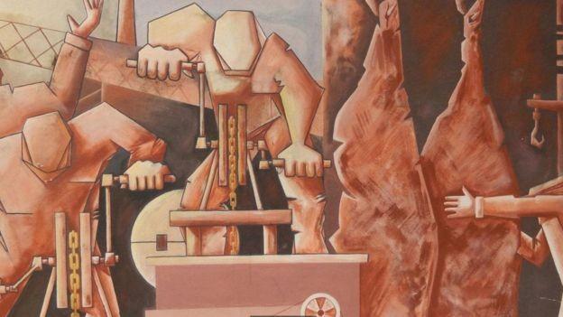 Trabalhadores de mais de 60 países foram atraídos pelos empregos oferecidos pela fábrica de processamento de carne de Fray Bentos, como mostrado nesse mural de Angel Juárez Masares (Foto: SHAFIK MEGHJI/BBC )