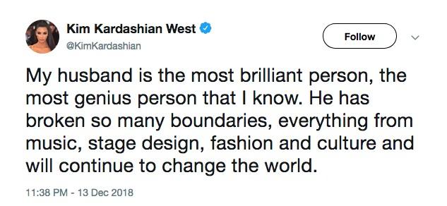O tuíte no qual Kim Kardashian ressalta os feitos do marido Kanye West (Foto: Twitter)