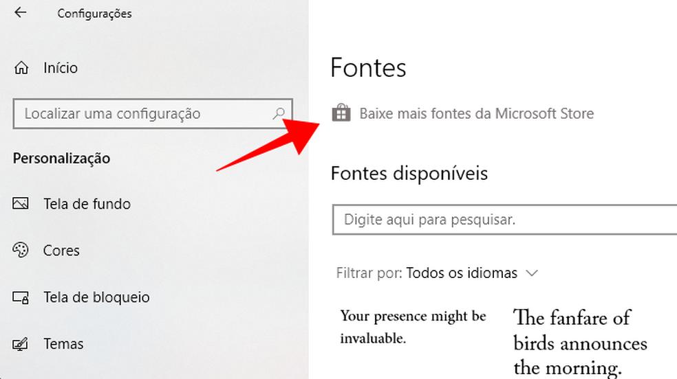 Baixe fontes para Windows 10 direto da loja oficial (Foto: Reprodução/Paulo Alves)
