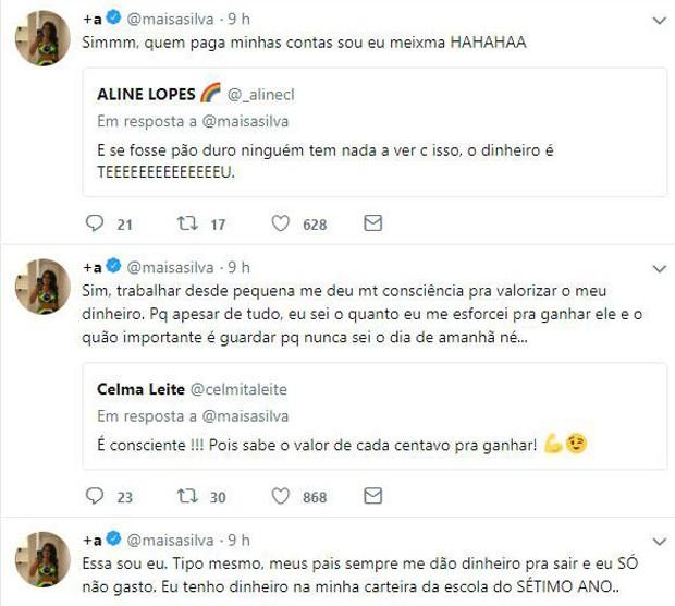 Maísa Silva fala com fãs na web sobre dinheiro (Foto: Reprodução/Twitter)