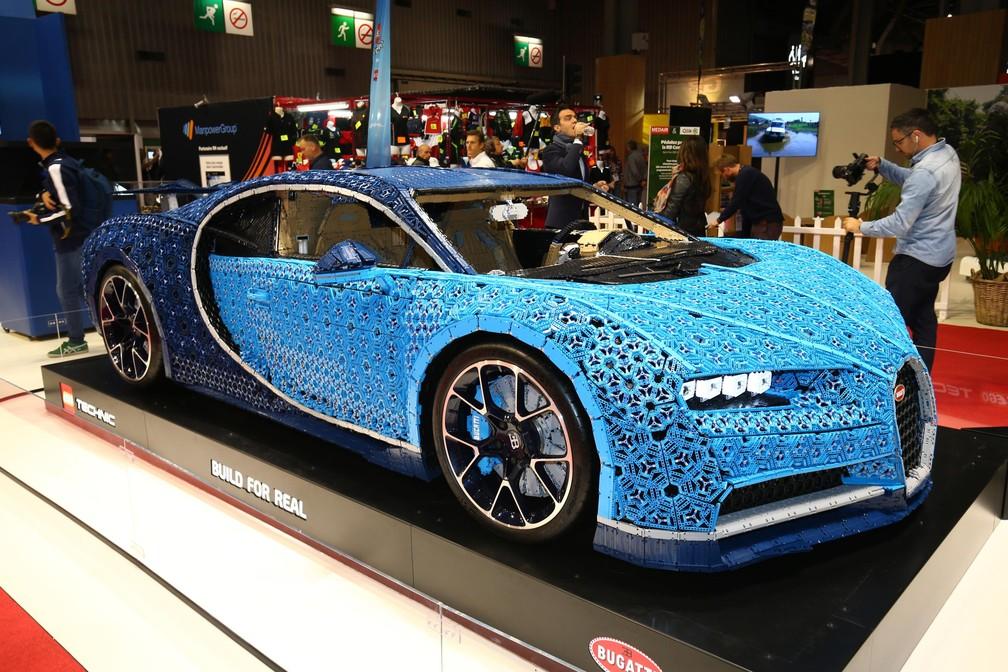 Bugatti Chiron de Lego no Salão de Paris 2018 — Foto: Newspress