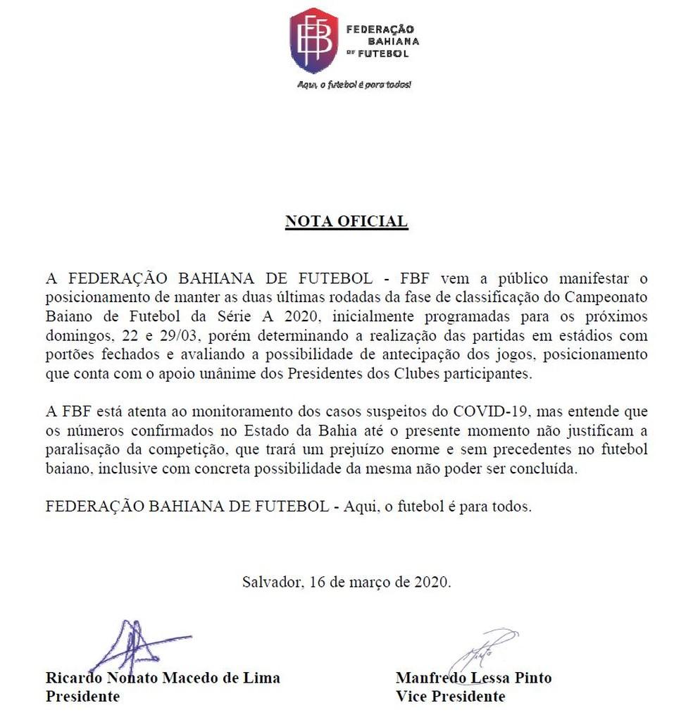 FBF decidiu manter jogos do Campeonato Baiano — Foto: Reprodução