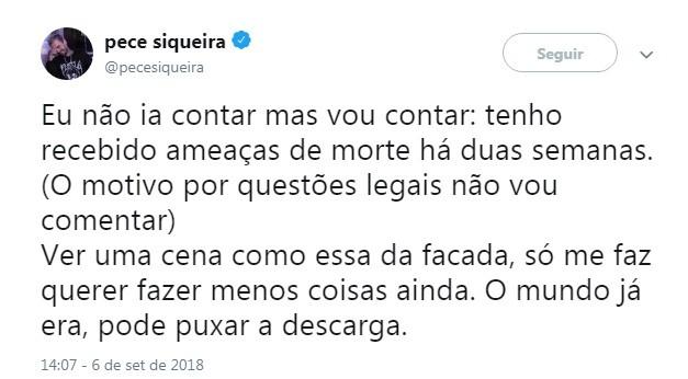 O desabafor de Pece Siqueira no Twitter (Foto: Reprodução Twitter)