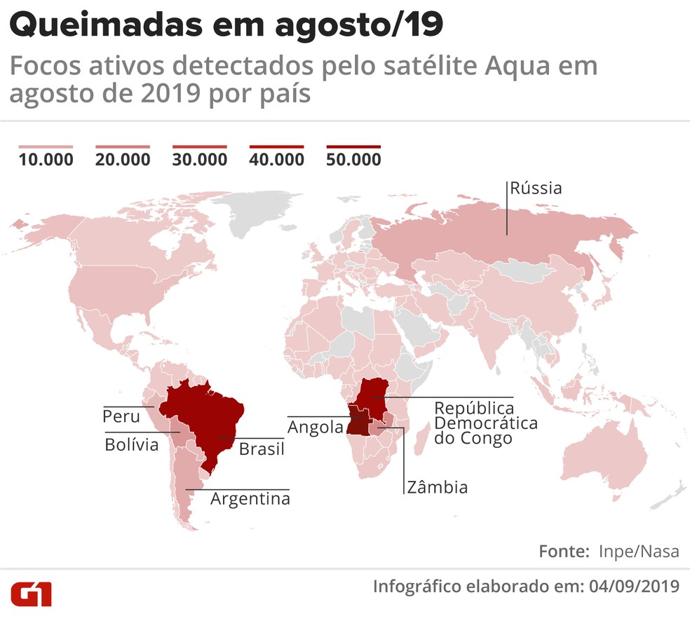 Queimadas pelo mundo em agosto de 2019 — Foto: Juliane Souza/G1