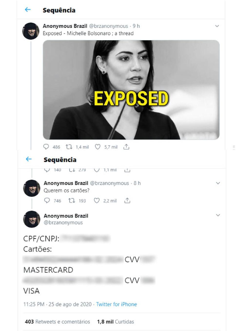 Grupo de hackers vazou informações pessoais de Michelle Bolsonaro em rede social — Foto: Reprodução