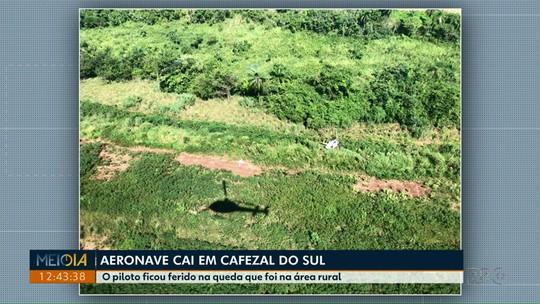 Helicóptero cai na área rural de Cafezal do Sul