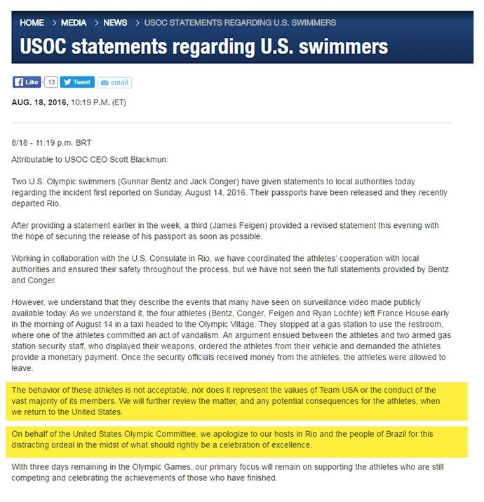 Print comunicado Comitê Olímpico dos EUA v1 (Foto: infoesporte)