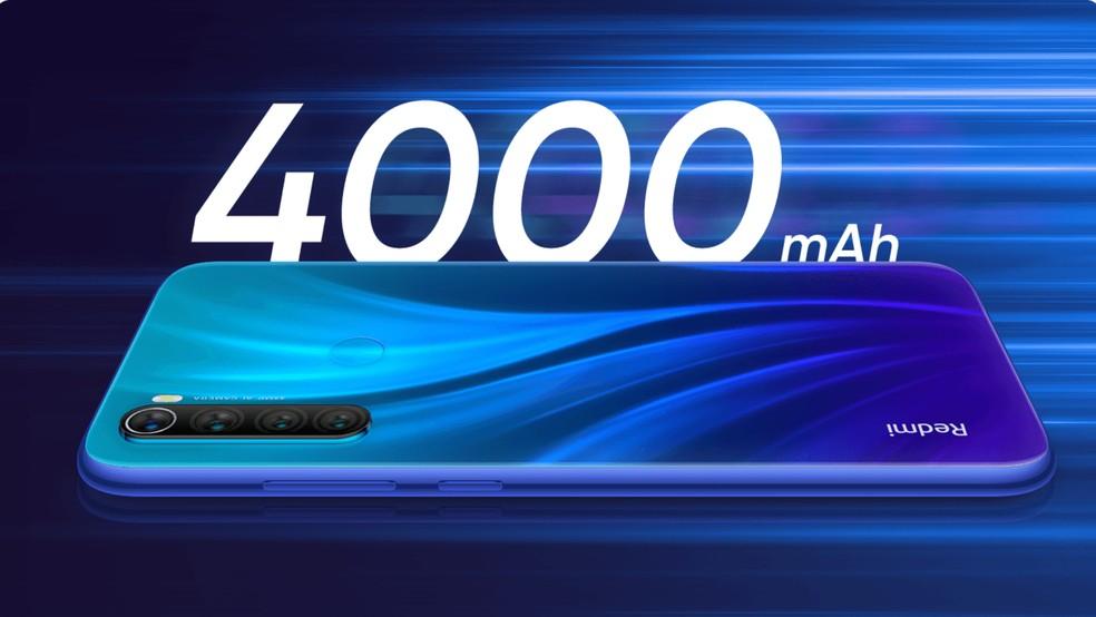 Redmi Note 8 vem com bateria de 4.000 mAh — Foto: Divulgação/Xiaomi