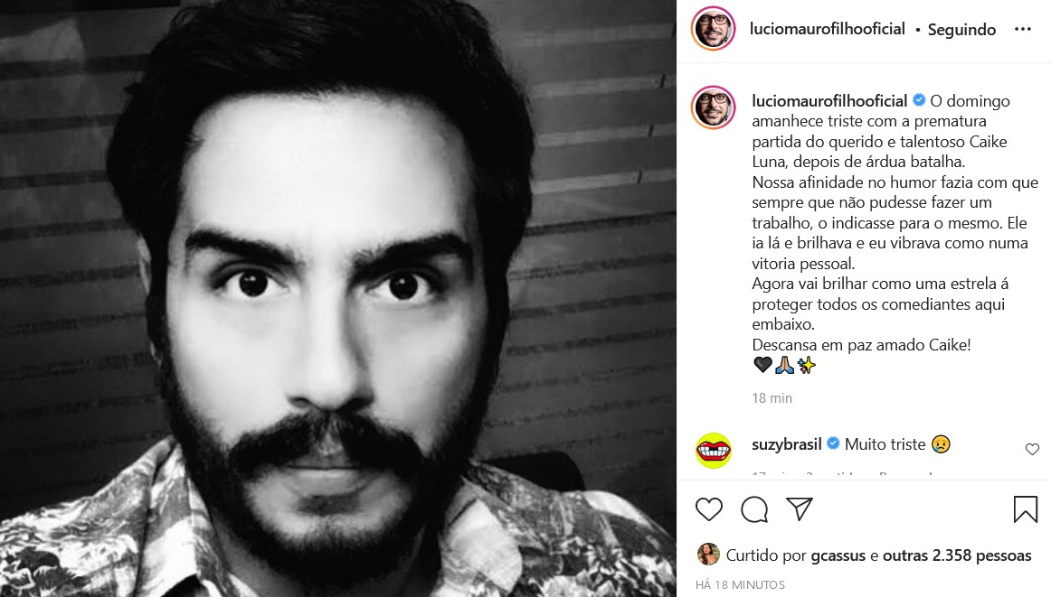 Lúcio Mauro Filho lamenta morte de Caike Luna (Foto: Reprodução/Instagram)