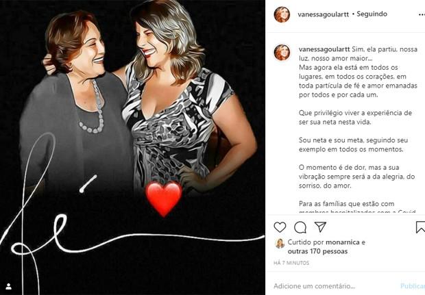 Vanessa Goulart lamenta a morte da avó Nicette Bruno (Foto: Reprodução/Instagram)