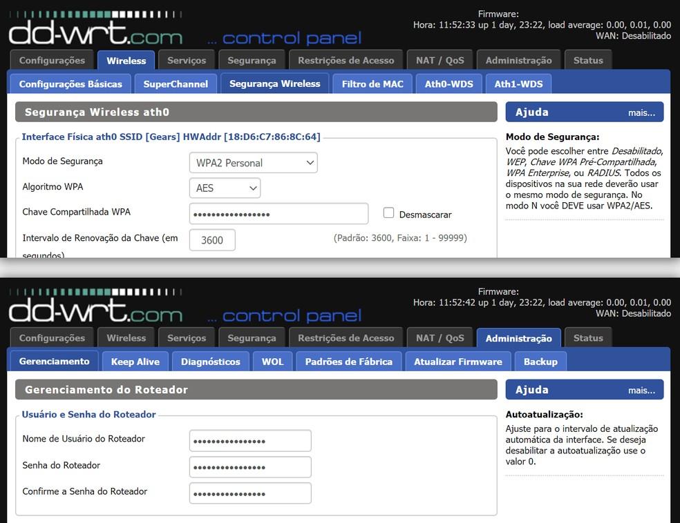 Configuração de senha da rede wireless e usuário de administração do roteador com software personalizado. — Foto: Reprodução