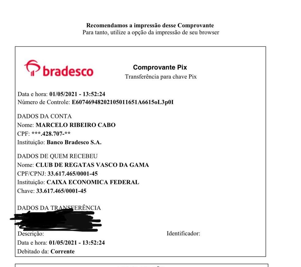Marcelo Cabo fez doação para o Vasco via #VasPix — Foto: Reprodução