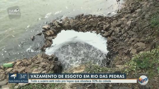 Moradores denunciam vazamento de esgoto em lagoa que abastece Rio das Pedras